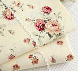 """Сатин тканина """"Бордові троянди"""" на кремовому №1748с, фото 5"""