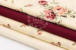 """Сатин тканина """"Бордові троянди"""" на кремовому №1748с, фото 6"""