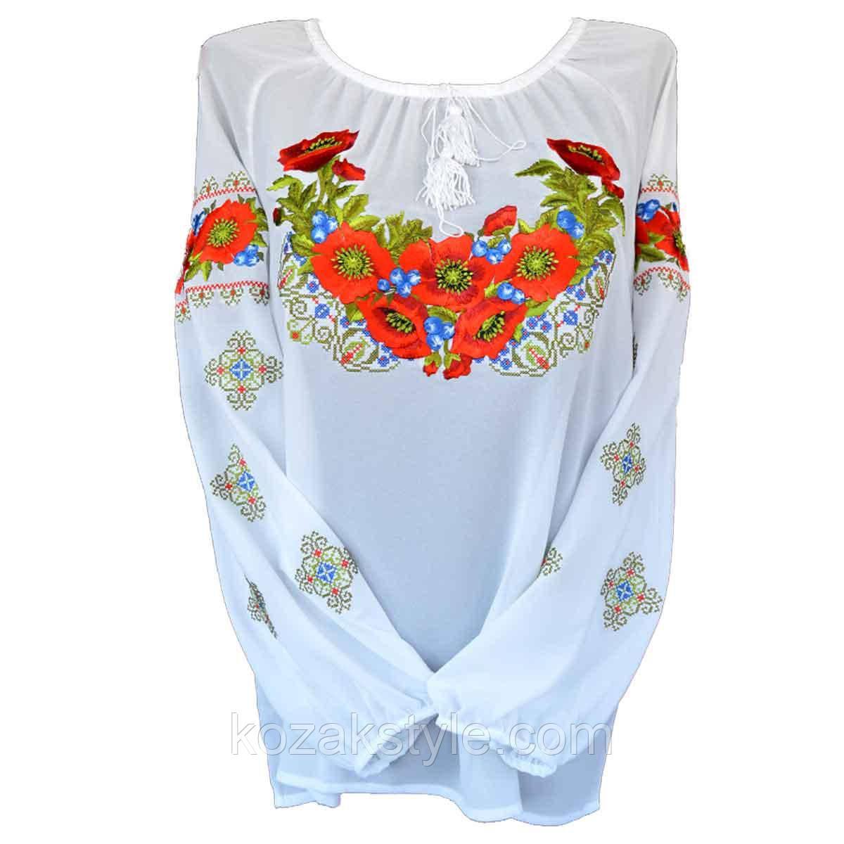 """Вишита сорочка """"Маки на орнаменті"""" (шифон, біла)"""