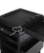 Парикмахерская тележка, пластиковая с полочками в чорном цвете, фото 2