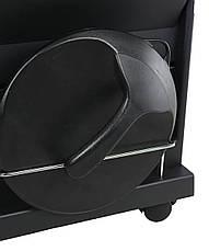 Парикмахерская тележка, пластиковая с полочками в чорном цвете, фото 3