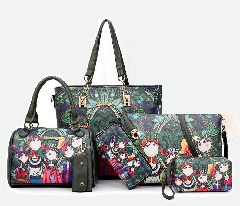 71758f3f0d51 Женская сумка зеленая с тематическим рисунком набор 6в1 купить по ...