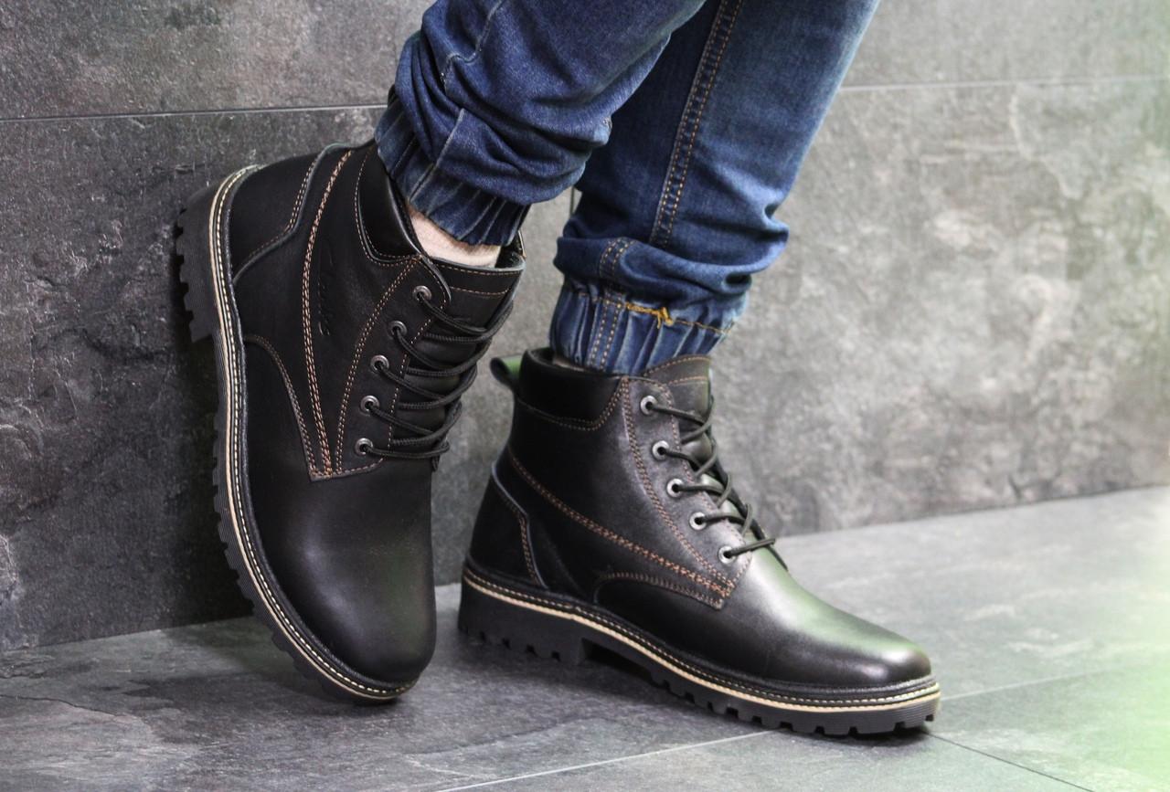 Ботинки мужские Clarks  зима натуральная кожа высокие молодежные качественные кларксы (черные), ТОП-реплика