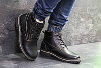 Ботинки мужские Clarks  зима натуральная кожа высокие молодежные качественные кларксы (черные), ТОП-реплика, фото 1