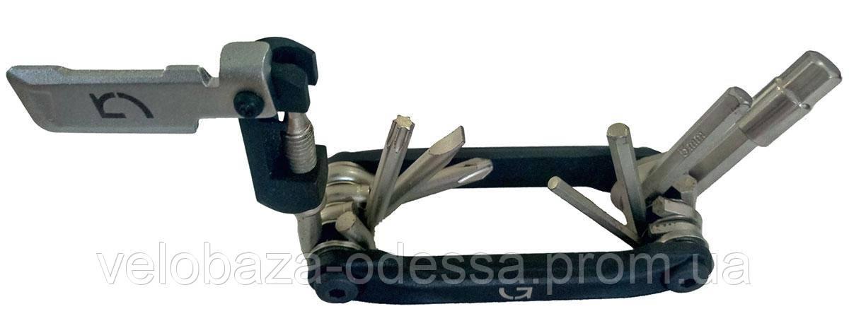 Компактный ключ Green Cycle GCM-098 складной 9 инструментов, черный