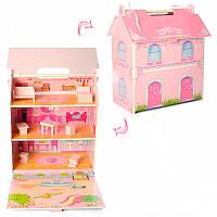 Домик для куклы  MD 1153 деревянный с мебелью, 31-50-6,5 см