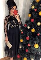 Платье со стразами и пышной фатиновой юбкой