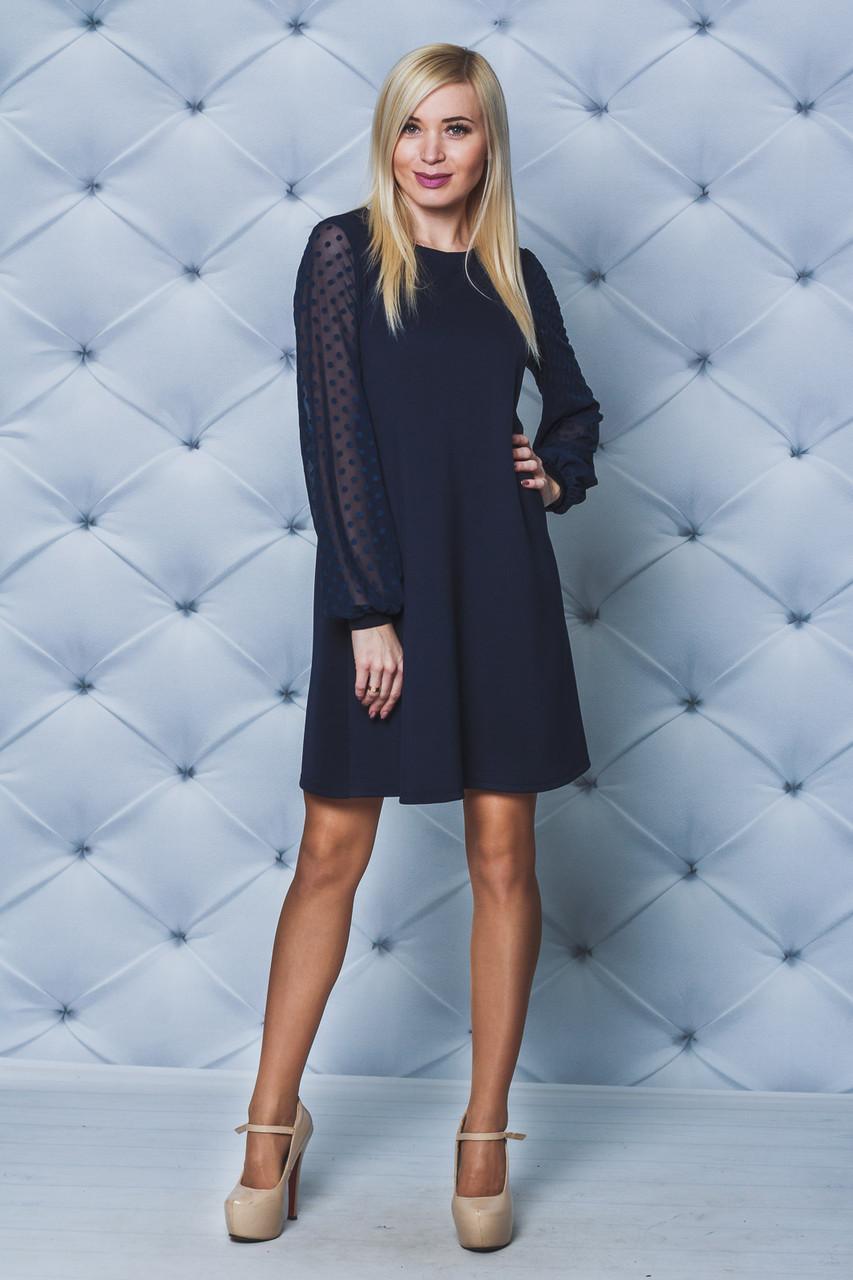 Женское платье А-силуэта темно-синее