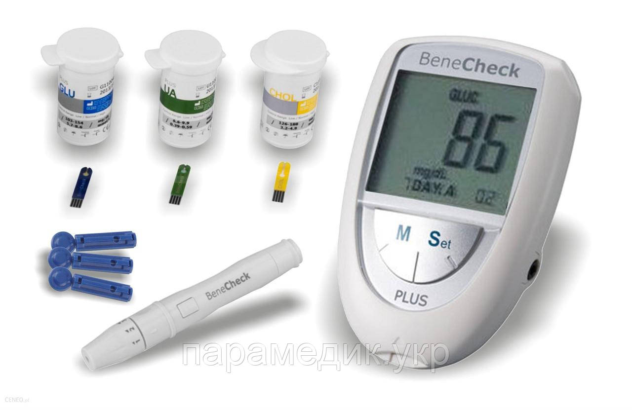 Устройство 3 в 1 BeneCheck Plus для измерения уровня глюкозы, холестерина, мочевой кислоты в крови, Польша
