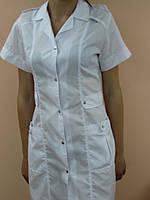 Женский медицинский халат на кнопках 42, Белый