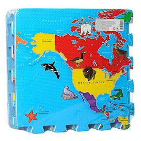 Детский коврик-пазл Карта мира