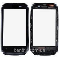 Тачскрин (сенсор) для Nokia 610 Lumia, черный, с передней панелью серебристого цвета