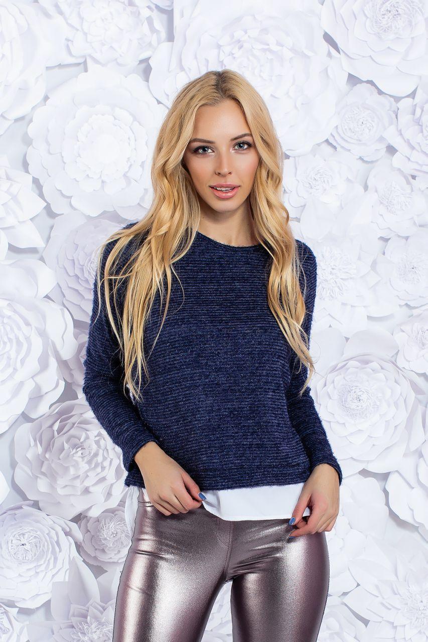 bed580bb440f Темно-синий свитерок из искусственного мохера с белой фальш-рубашкой