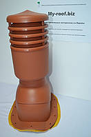 Вентиляционные выходы KRONO-PLAST KBNO Ral 8004, УТЕПЛЕННЫЙ, Ø 125  для металлочерепицы (низкий профиль)