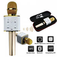 Мікрофон караоке bluetooth Q7 золотий StreetGo + чохол в подарунок