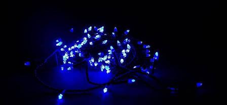 Светодиодная Гирлянда нить 301 led Голубая (черный провод), фото 2
