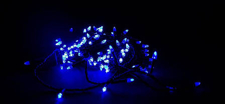 Светодионая Гирлянда нить 101 led Голубая (черный провод), фото 2