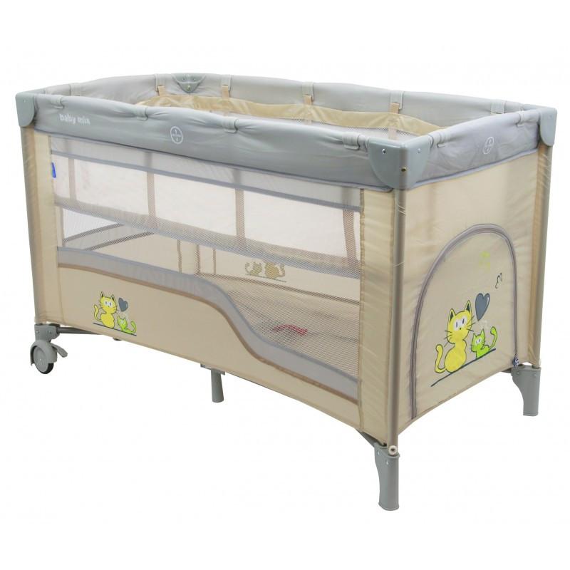 Манеж-кровать Baby Mix HR-8052-2 /2-уровневый/ beige (цвета в ассортименте)