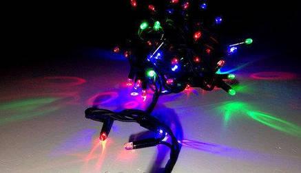 Светодионая Гирлянда нить 301 led RGB разноцветная (черный провод), фото 2
