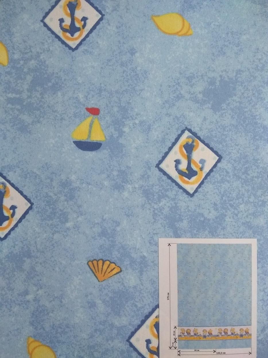 Рулонні штори Дитячі Блекаут Моряки D-069 блакитний Швеція