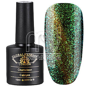 Гель-лак Global Fashion Cat Eye+Chameleon №02, 10 мл зеленый