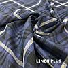Синя лляна тканина в клітку, 100% льон колір 1/1, фото 5