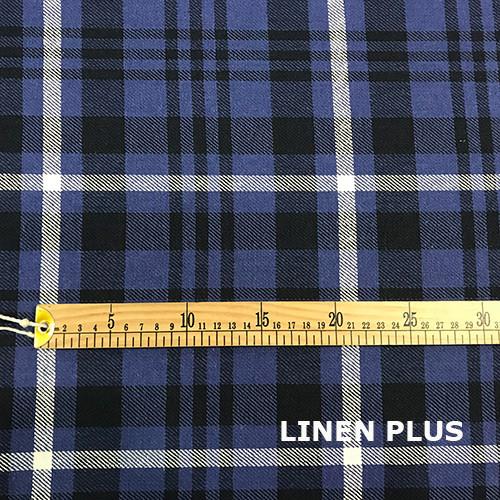 Синя лляна тканина в клітку, 100% льон колір 1/1