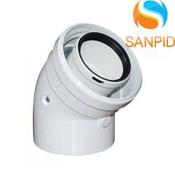 Колено для коаксиального дымохода конденсационного котла 45°, 60/100 мм