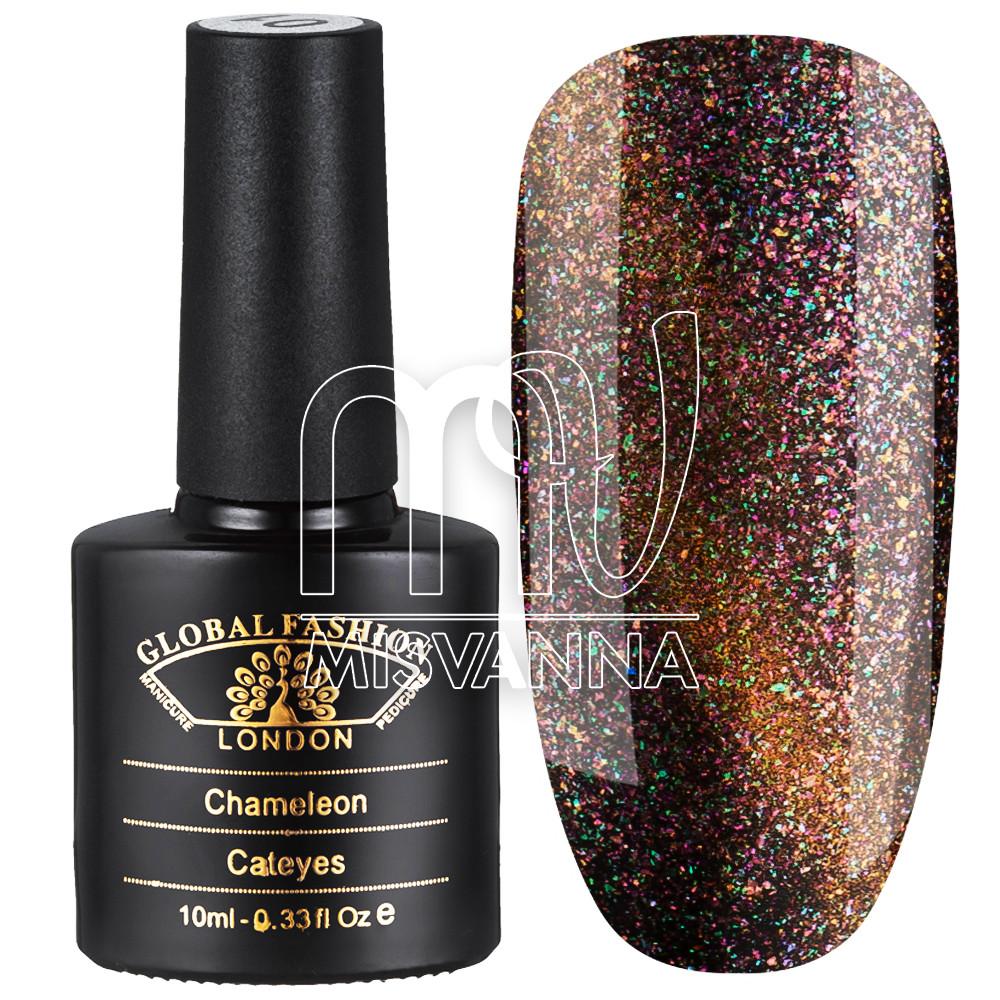 Гель-лак Global Fashion Cat Eye+Chameleon №10, 10 мл бирюзово-красный
