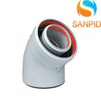 Колено для коаксиального дымохода турбированного котла 45°, 60/100 мм