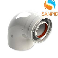 Колено для коаксиального дымохода турбированного котла 90°, 60/100 мм
