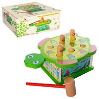 KMMD1252 Деревянная игрушка Стучалка MD 1252  черепаха, 24см, молоток, в кор-ке, 24,5-12,5-17см