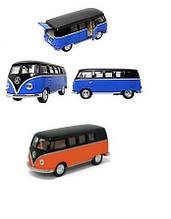 "KMKT5376W Модель автобус 5""  VOLKSWAGEN CLASSICAL BUS BLACK TOP(1962) метал.инерц.откр.дв.1:32 кор/96/"