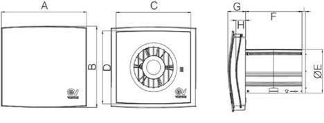 Габаритные размеры вытяжного вентилятора Vortice NOTUS
