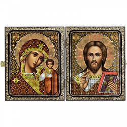 """Набор для вышивки иконы 23х14,2см в рамке-складне """"Христос Спаситель и Пресв. Богородица Казанская"""""""
