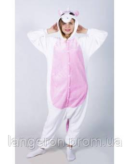 Кигуруми единорог белый с розовым животом и крыльями рост 145-155 S  kigurumi костюм - 69711f1e59811