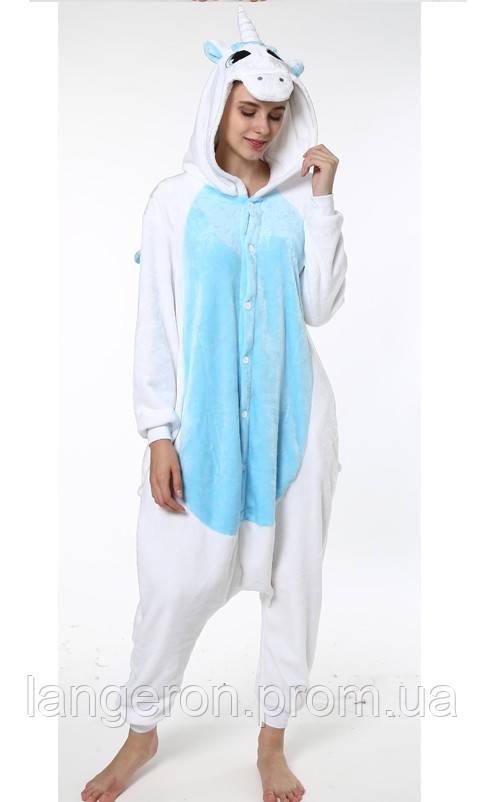 Кигуруми Единорог белый с голубым животом и крыльями S рост 145-155  kigurumi костюм пижама 9818bee653c50