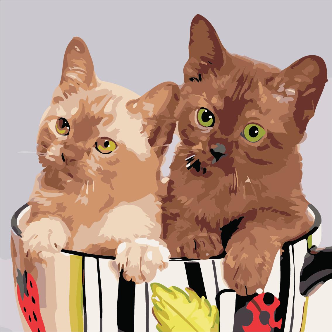 Художественный творческий набор, картина по номерам Коты в чашке, 40x40 см, «Art Story» (AS0501)