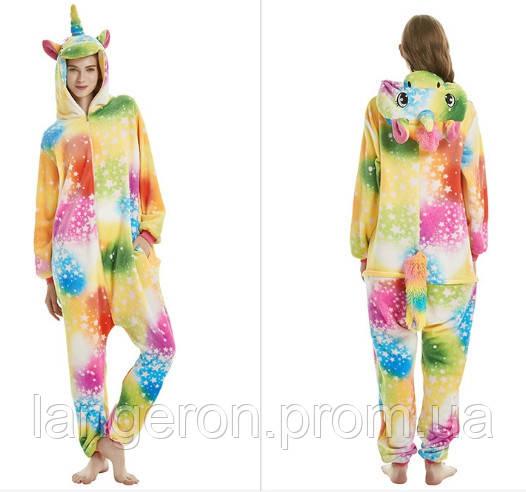 Кигуруми единорог звездный разноцветный радужный рост 180-190 XL kigurumi  костюм пижама 89c9938c0a43e