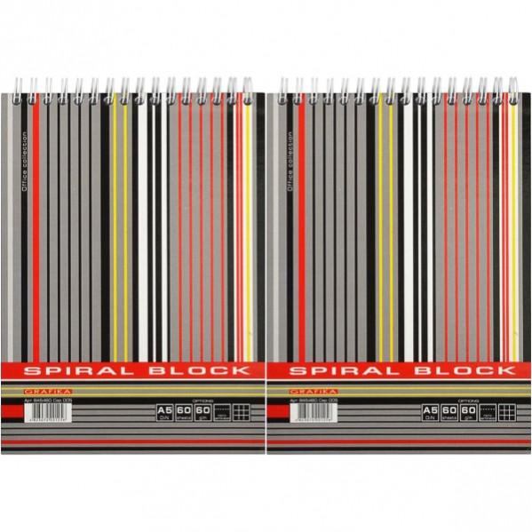 Блокнот А5 LINE 60 л. , клетка, тв. подл. , спираль           ВА5460-005