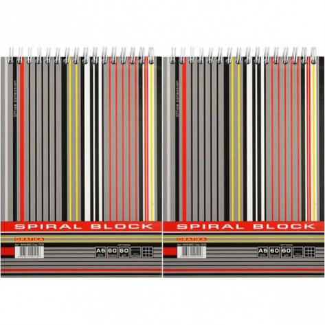 Блокнот А5 LINE 60 л. , клетка, тв. подл. , спираль           ВА5460-005, фото 2