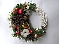 Новогодний рождественский венок с натуральным декором №3 25 см Зеленый