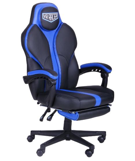 Геймерское кресло VR Racer Edge Titan черный/синий, TM AMF