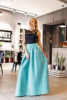 Комбинированное платье с длинной юбкой в пол
