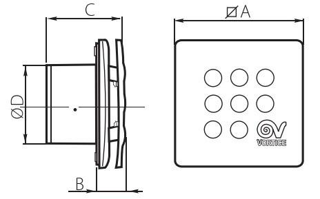 Габаритные размеры вытяжного вентилятора Vortice Punto Four