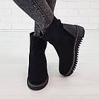 Замшевые женские ботинки с мехом 36-38 Woman's heel черные с широкой и нескользящей подошвой, фото 3