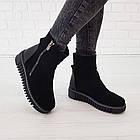 Замшевые женские ботинки с мехом 36-38 Woman's heel черные с широкой и нескользящей подошвой, фото 2