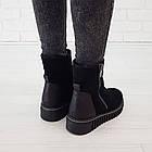 Замшевые женские ботинки с мехом 36-38 Woman's heel черные с широкой и нескользящей подошвой, фото 5