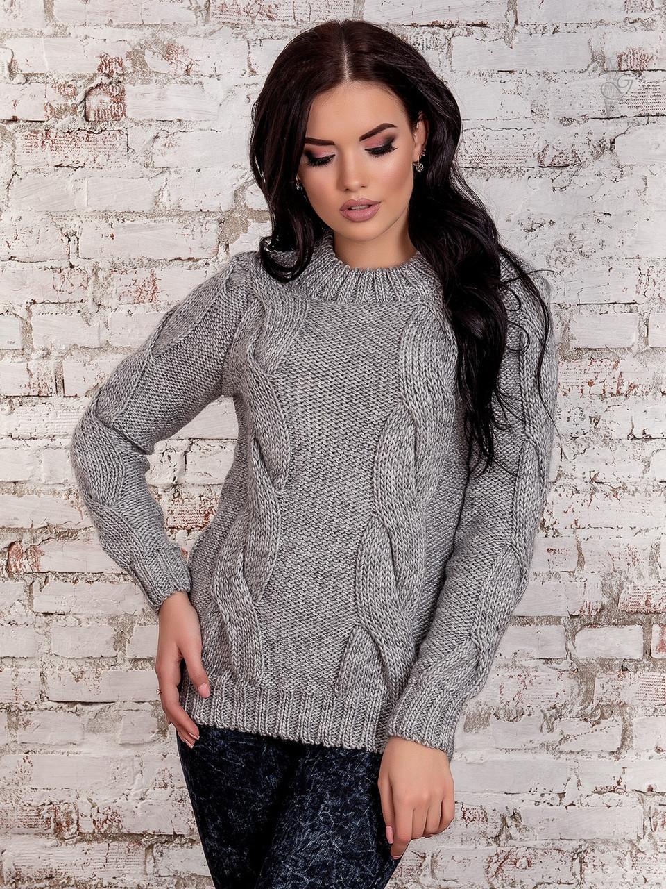 Вязаный женский свитер Риана из шерсти и акрила