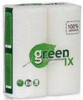 Рушник паперовий біле 100% целюлоза 2 шари з перфорацією. Упаковка 2 рулону (Green ix)